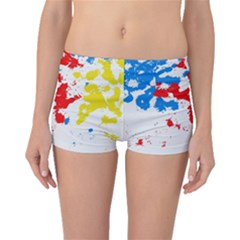 Paint Splatter Digitally Created Blue Red And Yellow Splattering Of Paint On A White Background Boyleg Bikini Bottoms