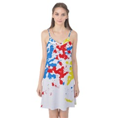Paint Splatter Digitally Created Blue Red And Yellow Splattering Of Paint On A White Background Camis Nightgown