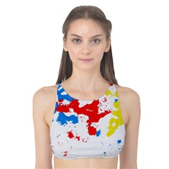 Paint Splatter Digitally Created Blue Red And Yellow Splattering Of Paint On A White Background Tank Bikini Top