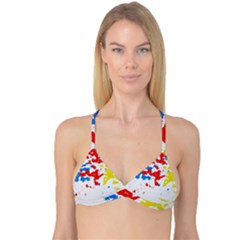 Paint Splatter Digitally Created Blue Red And Yellow Splattering Of Paint On A White Background Reversible Tri Bikini Top