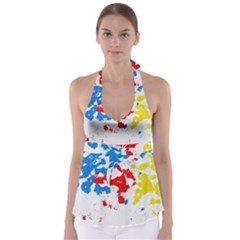 Paint Splatter Digitally Created Blue Red And Yellow Splattering Of Paint On A White Background Babydoll Tankini Top