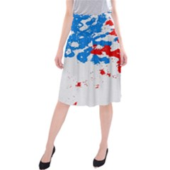 Paint Splatter Digitally Created Blue Red And Yellow Splattering Of Paint On A White Background Midi Beach Skirt