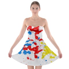 Paint Splatter Digitally Created Blue Red And Yellow Splattering Of Paint On A White Background Strapless Bra Top Dress