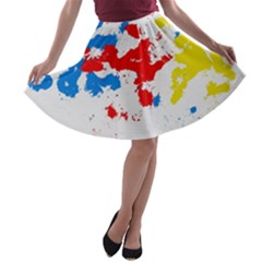 Paint Splatter Digitally Created Blue Red And Yellow Splattering Of Paint On A White Background A-line Skater Skirt