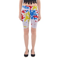 Paint Splatter Digitally Created Blue Red And Yellow Splattering Of Paint On A White Background Yoga Cropped Leggings
