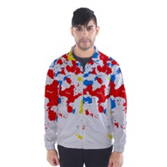 Paint Splatter Digitally Created Blue Red And Yellow Splattering Of Paint On A White Background Wind Breaker (Men)