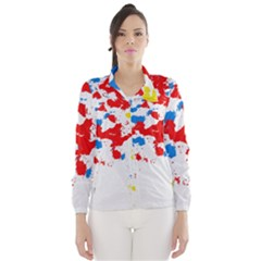 Paint Splatter Digitally Created Blue Red And Yellow Splattering Of Paint On A White Background Wind Breaker (Women)