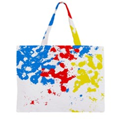 Paint Splatter Digitally Created Blue Red And Yellow Splattering Of Paint On A White Background Zipper Large Tote Bag