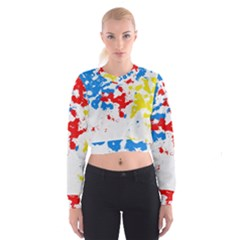 Paint Splatter Digitally Created Blue Red And Yellow Splattering Of Paint On A White Background Cropped Sweatshirt