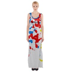 Paint Splatter Digitally Created Blue Red And Yellow Splattering Of Paint On A White Background Maxi Thigh Split Dress