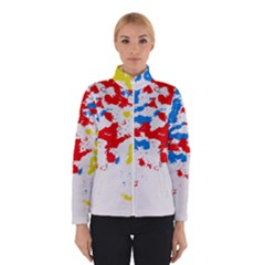 Paint Splatter Digitally Created Blue Red And Yellow Splattering Of Paint On A White Background Winterwear