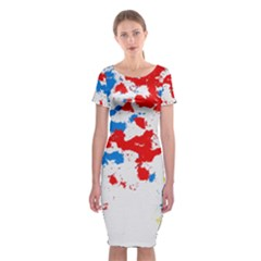Paint Splatter Digitally Created Blue Red And Yellow Splattering Of Paint On A White Background Classic Short Sleeve Midi Dress