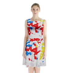 Paint Splatter Digitally Created Blue Red And Yellow Splattering Of Paint On A White Background Sleeveless Chiffon Waist Tie Dress