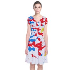Paint Splatter Digitally Created Blue Red And Yellow Splattering Of Paint On A White Background Short Sleeve Front Wrap Dress