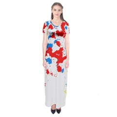 Paint Splatter Digitally Created Blue Red And Yellow Splattering Of Paint On A White Background Short Sleeve Maxi Dress