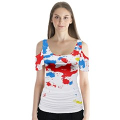 Paint Splatter Digitally Created Blue Red And Yellow Splattering Of Paint On A White Background Butterfly Sleeve Cutout Tee