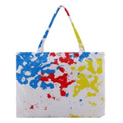 Paint Splatter Digitally Created Blue Red And Yellow Splattering Of Paint On A White Background Medium Tote Bag