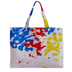 Paint Splatter Digitally Created Blue Red And Yellow Splattering Of Paint On A White Background Medium Zipper Tote Bag
