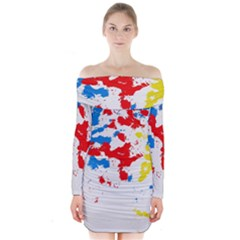 Paint Splatter Digitally Created Blue Red And Yellow Splattering Of Paint On A White Background Long Sleeve Off Shoulder Dress