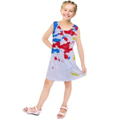 Paint Splatter Digitally Created Blue Red And Yellow Splattering Of Paint On A White Background Kids  Tunic Dress