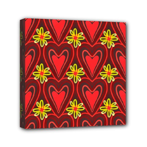Digitally Created Seamless Love Heart Pattern Mini Canvas 6  x 6