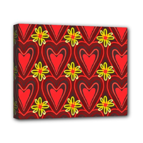 Digitally Created Seamless Love Heart Pattern Canvas 10  X 8
