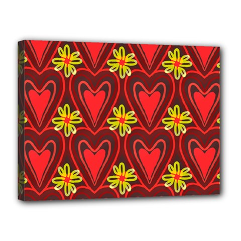 Digitally Created Seamless Love Heart Pattern Canvas 16  x 12