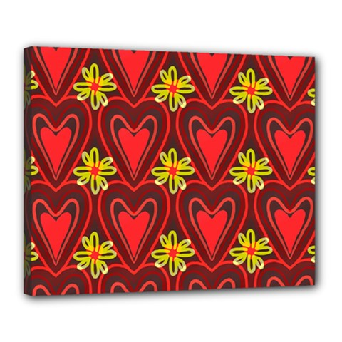 Digitally Created Seamless Love Heart Pattern Canvas 20  X 16