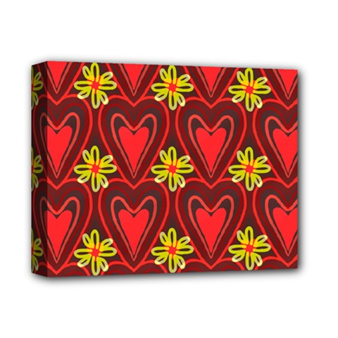Digitally Created Seamless Love Heart Pattern Deluxe Canvas 14  x 11