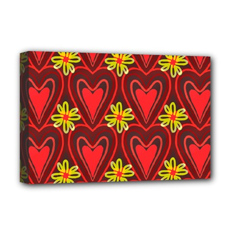 Digitally Created Seamless Love Heart Pattern Deluxe Canvas 18  x 12