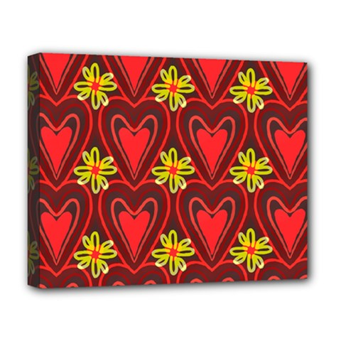 Digitally Created Seamless Love Heart Pattern Deluxe Canvas 20  X 16