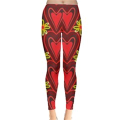 Digitally Created Seamless Love Heart Pattern Leggings