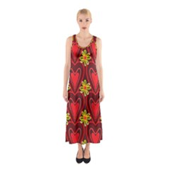 Digitally Created Seamless Love Heart Pattern Sleeveless Maxi Dress