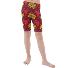 Digitally Created Seamless Love Heart Pattern Kids  Mid Length Swim Shorts