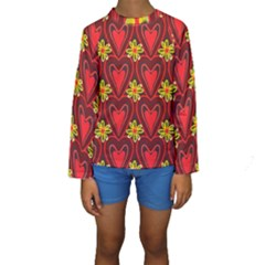 Digitally Created Seamless Love Heart Pattern Kids  Long Sleeve Swimwear