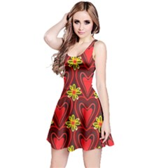 Digitally Created Seamless Love Heart Pattern Reversible Sleeveless Dress