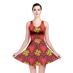 Digitally Created Seamless Love Heart Pattern Reversible Skater Dress