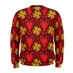Digitally Created Seamless Love Heart Pattern Men s Sweatshirt