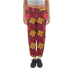 Digitally Created Seamless Love Heart Pattern Women s Jogger Sweatpants