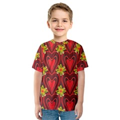 Digitally Created Seamless Love Heart Pattern Kids  Sport Mesh Tee