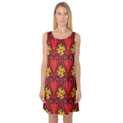 Digitally Created Seamless Love Heart Pattern Sleeveless Satin Nightdress