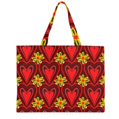Digitally Created Seamless Love Heart Pattern Large Tote Bag