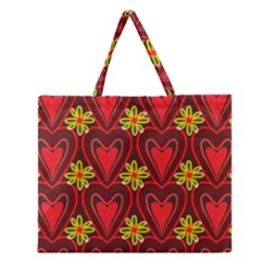 Digitally Created Seamless Love Heart Pattern Zipper Large Tote Bag