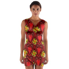 Digitally Created Seamless Love Heart Pattern Wrap Front Bodycon Dress