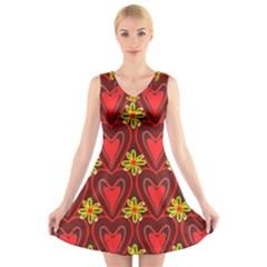 Digitally Created Seamless Love Heart Pattern V Neck Sleeveless Skater Dress
