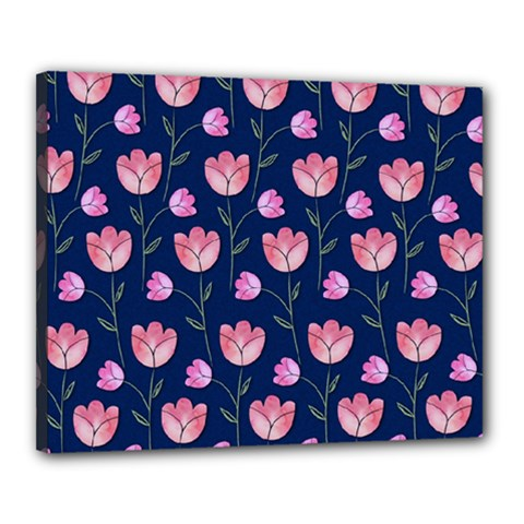 Watercolour Flower Pattern Canvas 20  X 16