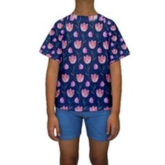Watercolour Flower Pattern Kids  Short Sleeve Swimwear