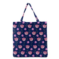 Watercolour Flower Pattern Grocery Tote Bag
