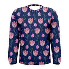 Watercolour Flower Pattern Men s Long Sleeve Tee