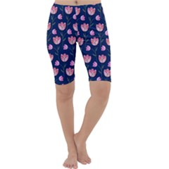Watercolour Flower Pattern Cropped Leggings